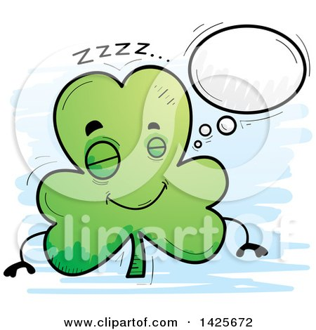 Clipart of a Cartoon Doodled Dreaming Shamrock Clover Character - Royalty Free Vector Illustration by Cory Thoman