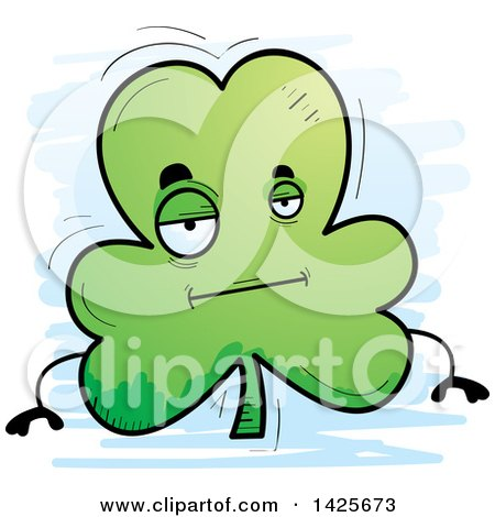 Clipart of a Cartoon Doodled Bored Shamrock Clover Character - Royalty Free Vector Illustration by Cory Thoman
