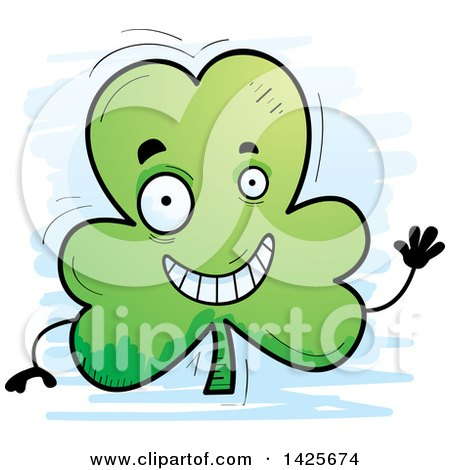 Clipart of a Cartoon Doodled Waving Shamrock Clover Character - Royalty Free Vector Illustration by Cory Thoman