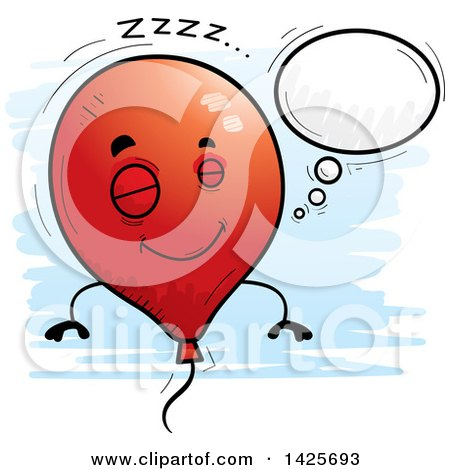 Clipart of a Cartoon Doodled Dreaming Balloon Character - Royalty Free Vector Illustration by Cory Thoman