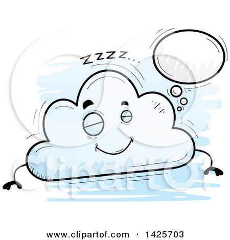 Clipart of a Cartoon Doodled Dreaming Cloud Character - Royalty Free Vector Illustration by Cory Thoman