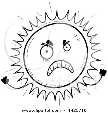 Clipart of a Cartoon Black and White Doodled Mad Sun Character - Royalty Free Vector Illustration by Cory Thoman