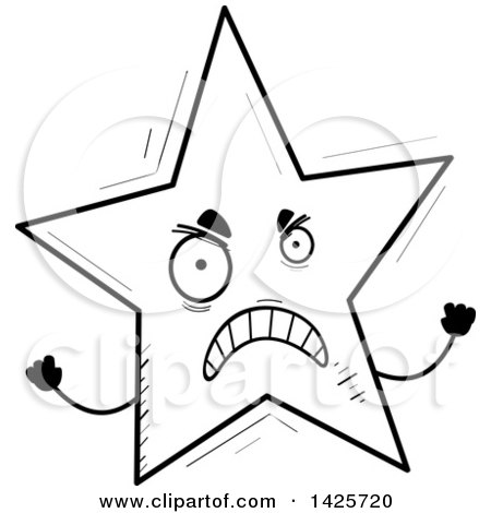Clipart Of A Cartoon Black And White Doodled Mad Star Character