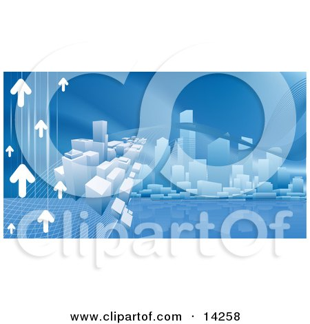 Blue Internet Web Background of Arrows Heading Towards a City Skyline Reflecting in Water Clipart Illustration by AtStockIllustration