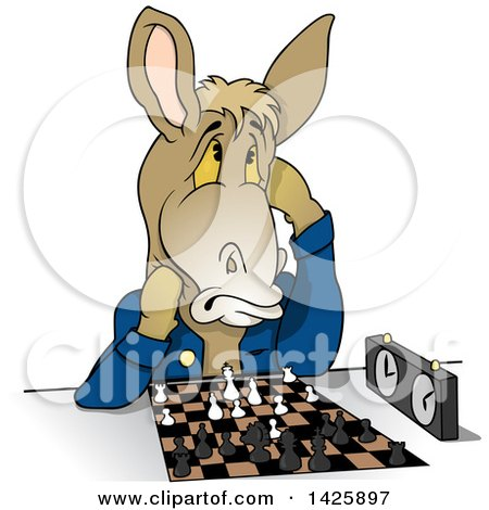 Clipart of a Cartoon Donkey Playing a Game of Chess - Royalty Free Vector Illustration by dero