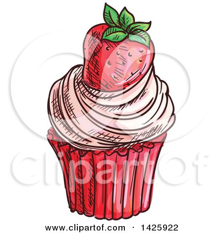 Clipart of a Sketched Strawberry Cupcake - Royalty Free Vector Illustration by Vector Tradition SM