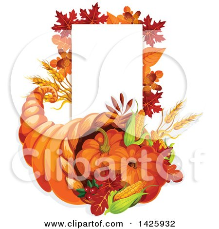 Clipart of a Thanksgiving Cornucopia and Blank Sign - Royalty Free Vector Illustration by Vector Tradition SM