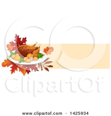 Clipart of a Thanksgiving Banner with a Raosted Turkey and Leaves - Royalty Free Vector Illustration by Vector Tradition SM