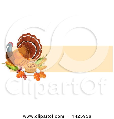 Clipart of a Thanksgiving Banner with a Turkey Bird, Pie, Leaves and Corn - Royalty Free Vector Illustration by Vector Tradition SM