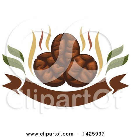 Clipart of Three Coffee Beans with Steam over a Banner - Royalty Free Vector Illustration by Vector Tradition SM