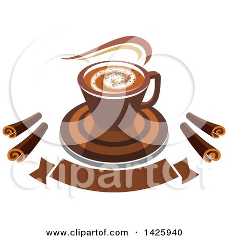Clipart of a Hot Latte Coffee with Chocolate Spirals over a Banner - Royalty Free Vector Illustration by Vector Tradition SM