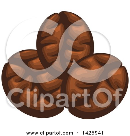 Clipart of Three Coffee Beans - Royalty Free Vector Illustration by Vector Tradition SM