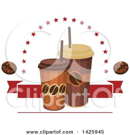 Clipart of Take out Coffee Cups with Stars, Beans and a Red Banner - Royalty Free Vector Illustration by Vector Tradition SM