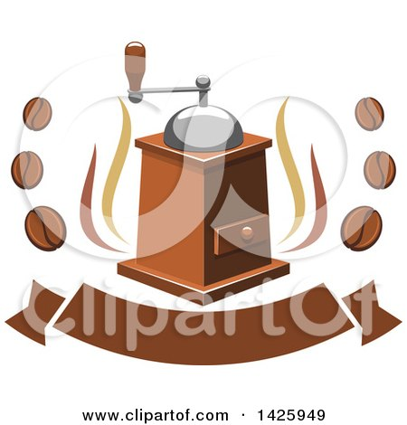 Clipart of a Coffee Grinder with Steam and Beans over a Banner - Royalty Free Vector Illustration by Vector Tradition SM