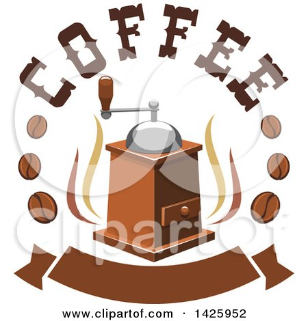 Clipart of a Coffee Grinder with Steam, Text and Beans over a Banner - Royalty Free Vector Illustration by Vector Tradition SM