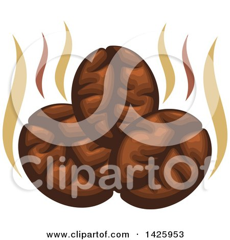 Clipart of Three Coffee Beans with Steam - Royalty Free Vector Illustration by Vector Tradition SM