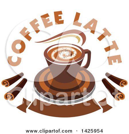 Clipart of a Hot Latte Coffee with Text and Chocolate Spirals over a Banner - Royalty Free Vector Illustration by Vector Tradition SM