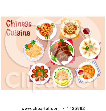 Clipart of a Table Set with Chinese Cuisine - Royalty Free Vector Illustration by Vector Tradition SM