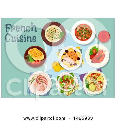 Clipart of a Table Set with French Cuisine - Royalty Free Vector Illustration by Vector Tradition SM
