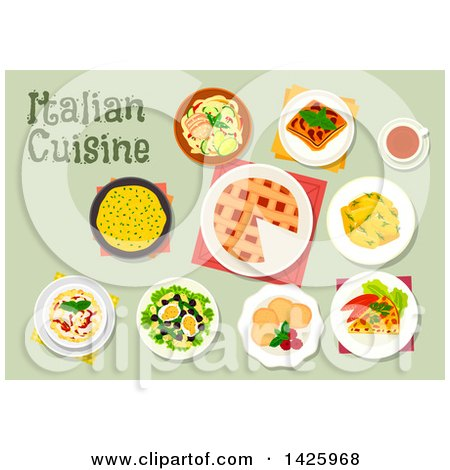 Clipart of a Table Set with Italian Cuisine - Royalty Free Vector Illustration by Vector Tradition SM