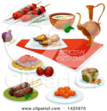 Clipart of a Table Set with Turkish Cuisine - Royalty Free Vector Illustration by Vector Tradition SM
