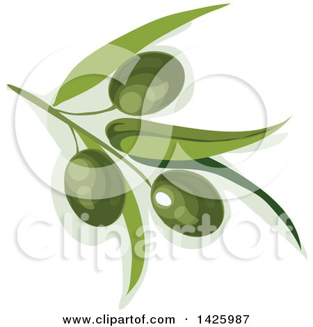 Clipart of a Branch with Green Olives - Royalty Free Vector Illustration by Vector Tradition SM