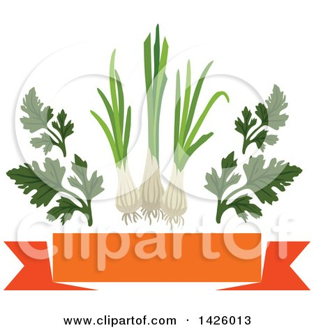 Clipart of a Blank Orange Banner, Parsley and Leeks - Royalty Free Vector Illustration by Vector Tradition SM