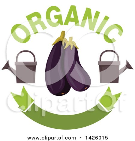 Clipart of Purple Eggplants with Watering Cans, Organic Text and a Blank Banner - Royalty Free Vector Illustration by Vector Tradition SM
