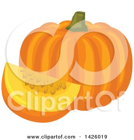 Clipart of a Pumpkin and Wedge - Royalty Free Vector Illustration by Vector Tradition SM