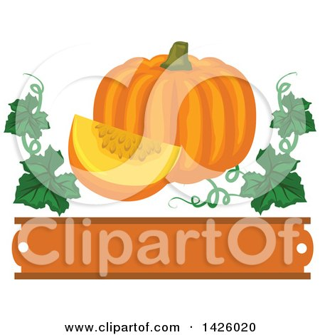Clipart of a Pumpkin and Wedge with Vines over a Blank Banner - Royalty Free Vector Illustration by Vector Tradition SM