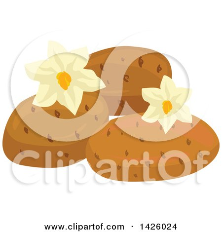 Clipart of Blossoms and Potatoes - Royalty Free Vector Illustration by Vector Tradition SM