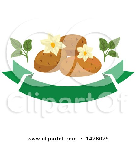 Clipart of Blossoms and Potatoes over a Green Banner - Royalty Free Vector Illustration by Vector Tradition SM