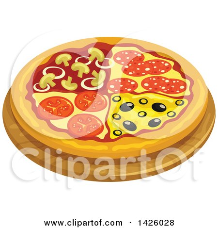 Clipart of a Pizza, Quatro Stagioni - Royalty Free Vector Illustration by Vector Tradition SM