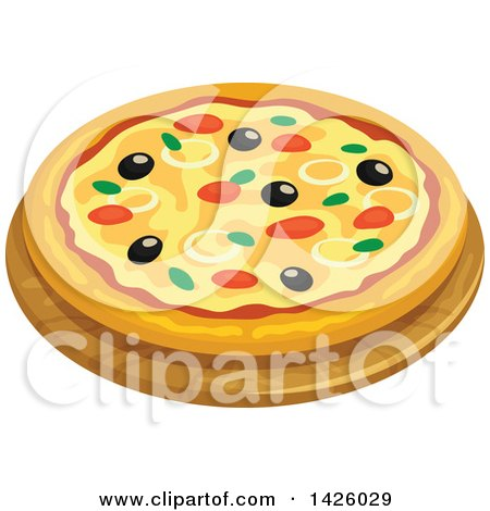 Clipart of a Pizza, Italian Tuna - Royalty Free Vector Illustration by Vector Tradition SM