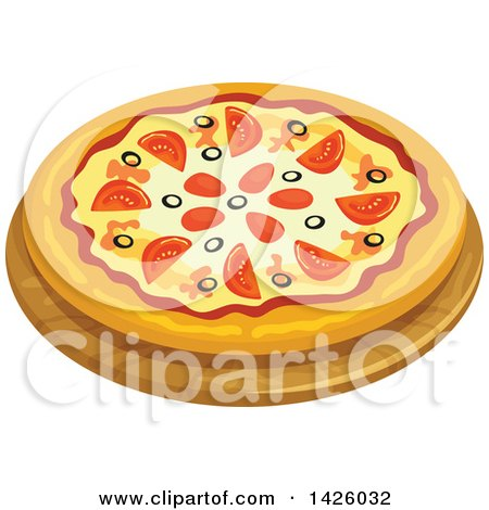 Clipart of a Pizza, Sicily - Royalty Free Vector Illustration by Vector Tradition SM