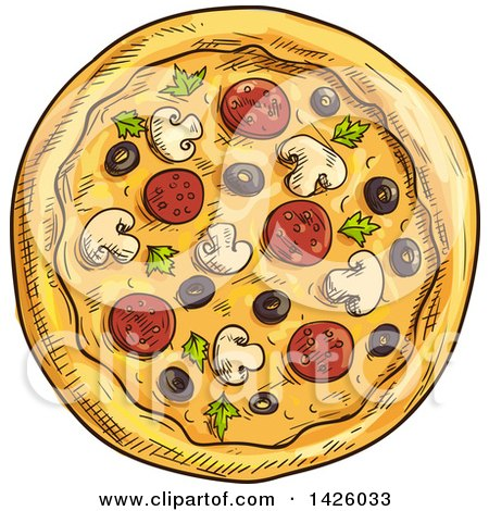 Clipart of a Sketched Supreme Pizza - Royalty Free Vector Illustration by Vector Tradition SM