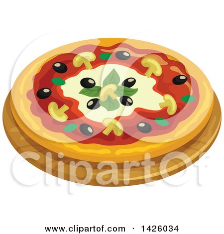 Clipart of a Pizza, Capricciosa - Royalty Free Vector Illustration by Vector Tradition SM