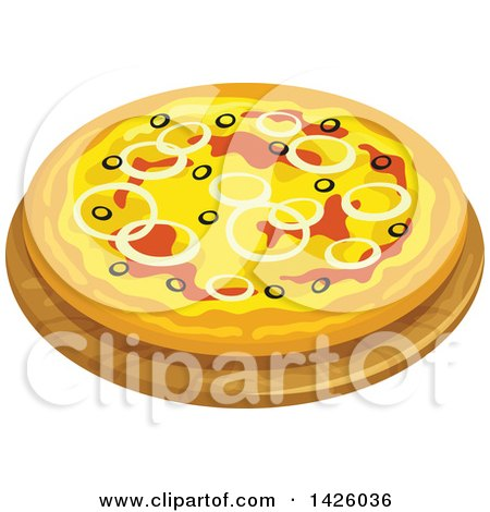 Clipart of a Pizza, Pugliese - Royalty Free Vector Illustration by Vector Tradition SM
