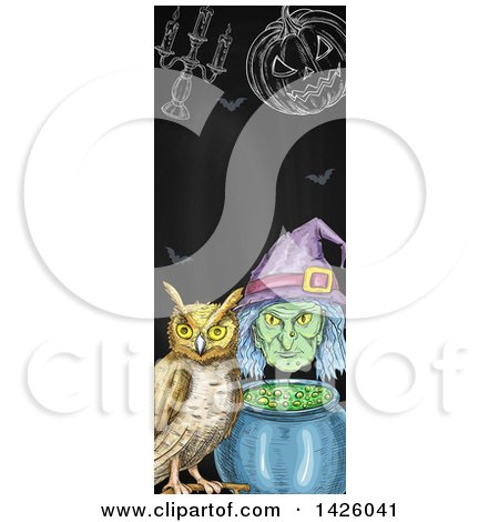 Clipart of a Sketched Vertical Halloween Border of a Witch, Cauldron, Pumpkin, Candelabra, and Owl - Royalty Free Vector Illustration by Vector Tradition SM