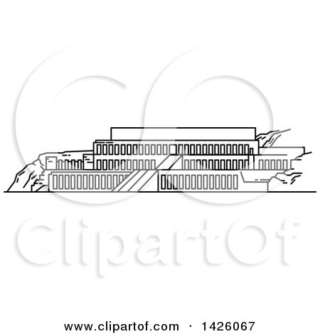 Clipart of a Black and White Line Drawing Styled Egyptian Landmark, Deir El-Bahari - Royalty Free Vector Illustration by Vector Tradition SM