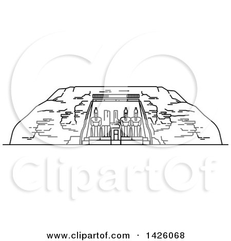 Clipart of a Black and White Line Drawing Styled Egyptian Landmark, Abu Simbel - Royalty Free Vector Illustration by Vector Tradition SM