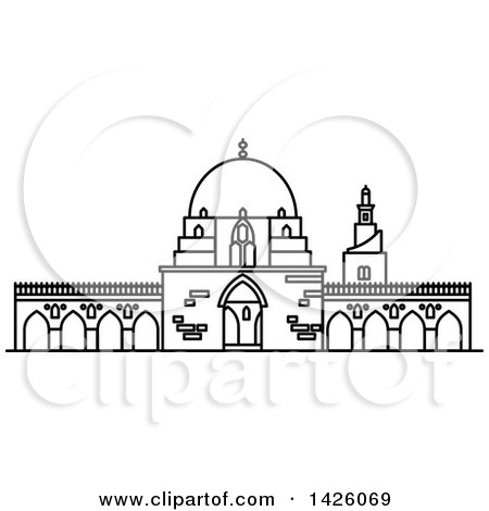 Clipart of a Black and White Line Drawing Styled Egyptian Landmark, Mosque of Ibn Tulun - Royalty Free Vector Illustration by Vector Tradition SM