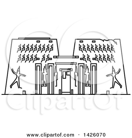 Clipart of a Black and White Line Drawing Styled Egyptian Landmark, Karnak Temple - Royalty Free Vector Illustration by Vector Tradition SM