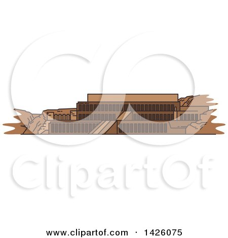 Clipart of a Line Drawing Styled Egyptian Landmark, Deir El-Bahari - Royalty Free Vector Illustration by Vector Tradition SM