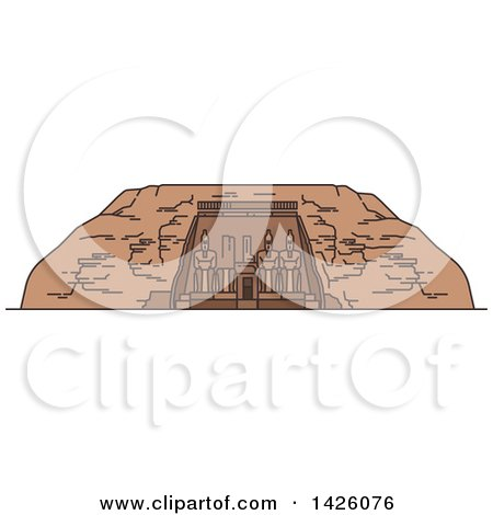 Clipart of a Line Drawing Styled Egyptian Landmark, Abu Simbel - Royalty Free Vector Illustration by Vector Tradition SM