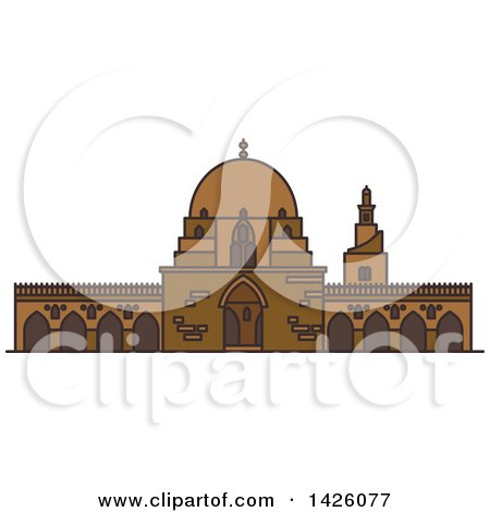 Clipart of a Line Drawing Styled Egyptian Landmark, Mosque of Ibn Tulun - Royalty Free Vector Illustration by Vector Tradition SM