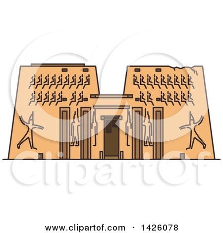 Clipart of a Line Drawing Styled Egyptian Landmark, Karnak Temple - Royalty Free Vector Illustration by Vector Tradition SM