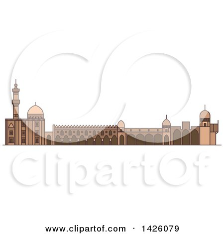 Clipart of a Line Drawing Styled Egyptian Landmark, Al-Azhar Mosque - Royalty Free Vector Illustration by Vector Tradition SM