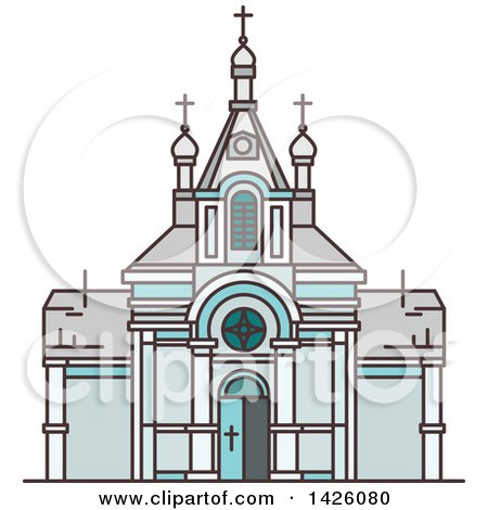 Clipart of a Line Drawing Styled Egyptian Landmark, Saint Virgin Mary Church - Royalty Free Vector Illustration by Vector Tradition SM