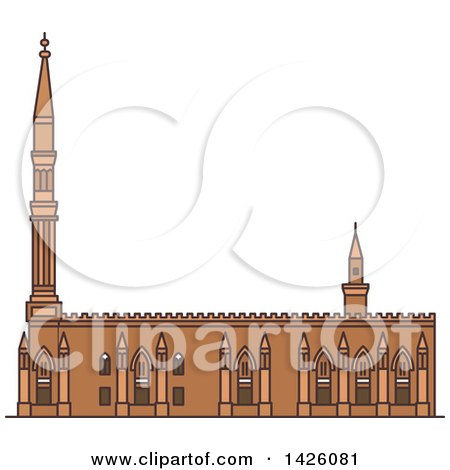 Clipart of a Line Drawing Styled Egyptian Landmark, Al-Hussein - Royalty Free Vector Illustration by Vector Tradition SM